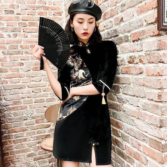 ショート丈チャイナドレス 改良型 大きいサイズ S M L LL 3L 中華服 スリム ブラック 黒い 切り替え
