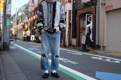 crazy pattern knit sweater①