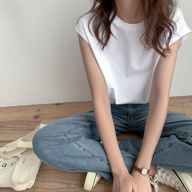 シンプルノースリーブシャツ | シンプル 韓国服 夏
