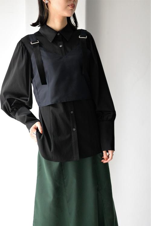 ROOM211 unique / layered bustier shirt (black)