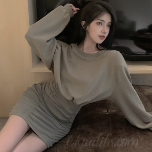 【ワンピース】美人度アップ韓国系長袖ラウンドネックAラインワンピース51083649