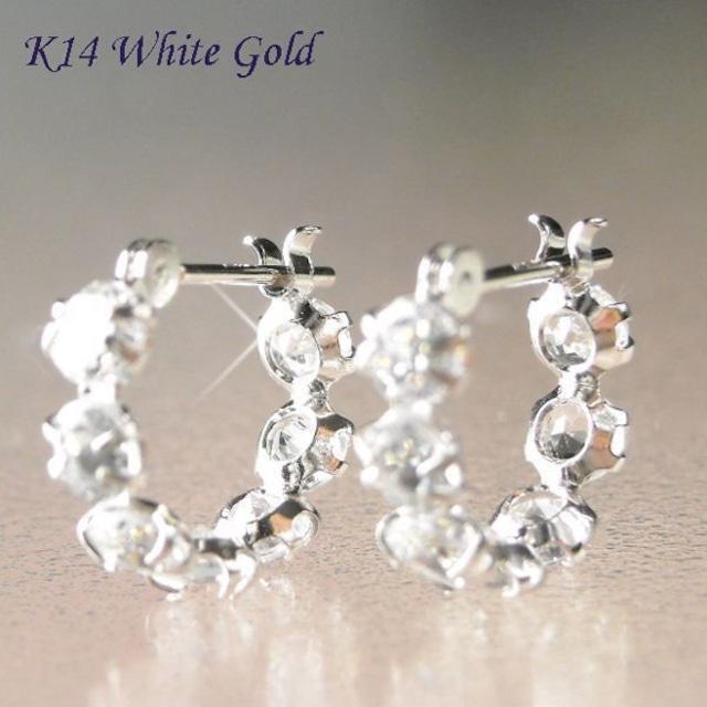 ピアス アクアマリン 3月誕生石 フープ ホワイトゴールド 14金 CZダイヤモンド