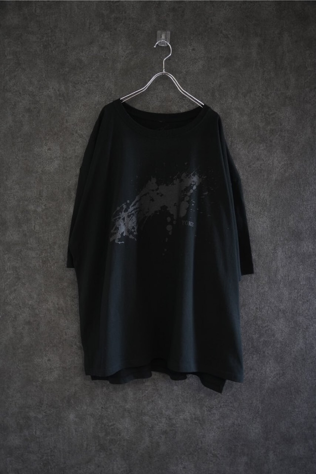 """limited Edition YŌKE byKeisukeyoneda """"Dripping """"shoulder less big tee #3 Black"""