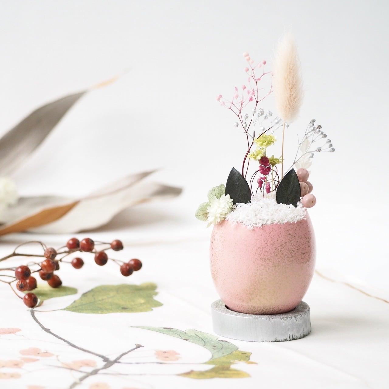 花の猫型盆栽「タマゴノコネコ」(春の桜・新たな芽吹き)