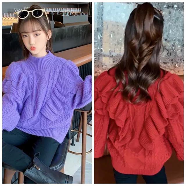 120~170cm 2カラー ★ ニット 長袖 セーター フリル カジュアル