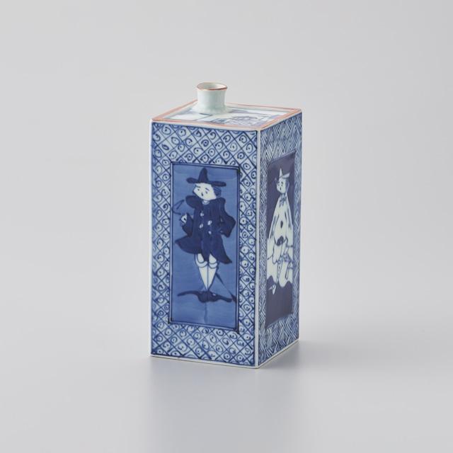 【青花】藤井陽滋作 紅毛人角花瓶(限定品 1品)
