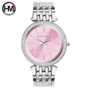 女性トップブランドの高級クォーツムーブメント時計ファッションビジネスステンレススチールダイヤモンドダイヤル防水レディース腕時計1185-PINK