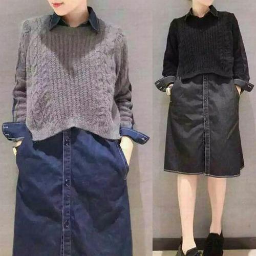 ドッキングワンピース デニムシャツ ワンピース ニット 韓国ファッション レディース マタニティ ガーリー フェミニン DCT-557459370190