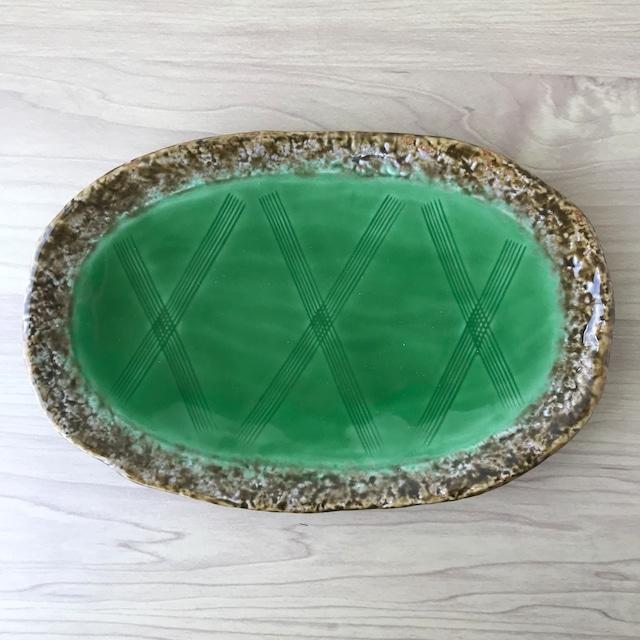【有田焼】伊良保内グリーン 楕円焼物皿【1点限り】