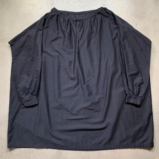 1920's~1930's Antique ブラックモールスキンチュニック スモックフレンチワークウェア アンティーク ユニセックス サイズフリー ユーロ early 20th century 希少 ヴィンテージ BA-1492 RM1911H