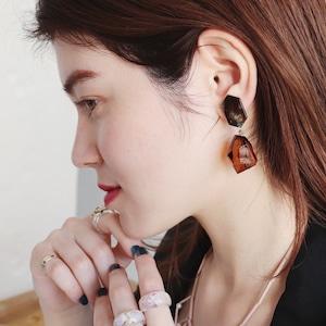 EARRINGS    【通常商品】 MARBLE & STONE EARRINGS (BROWN)    1 EARRINGS    BROWN    FBA052