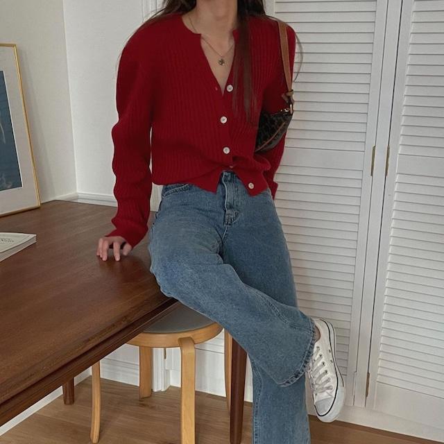 milk wool cardigan (red)
