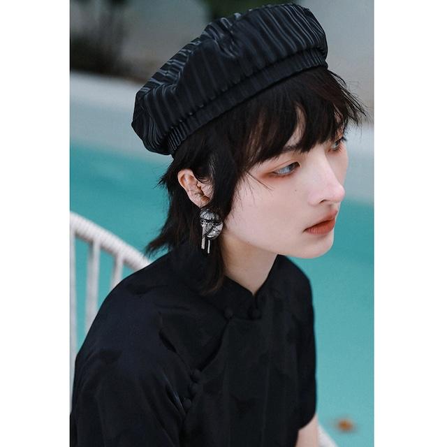 【大青龍肆シリーズ】★帽子★ レディース PU 小物 縞模様 縦縞 ストライプ ブラック 黒い 撮影