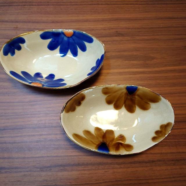 藍花 楕円鉢