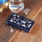 Amijed+BLUEWHITE 手帳型スマホケース ネイビー