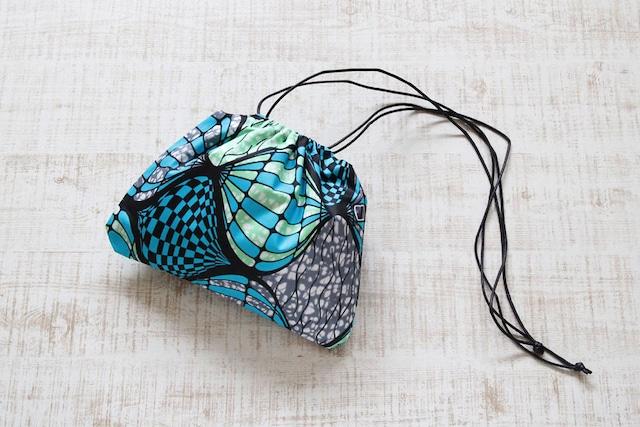 アフリカ布の巾着ショルダー|インナーバッグ / 巾着 / アフリカ布