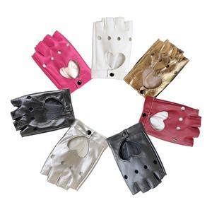 レザー手袋 革手袋 半手袋 レディース パンク 黒 演出 ダンス用 ステージ衣装5109