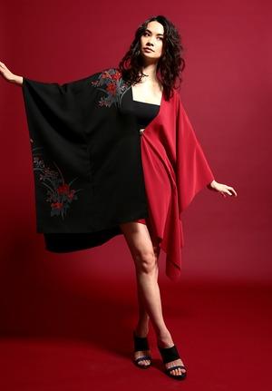 着物ポンチョ(Kimono poncho)Red×Black