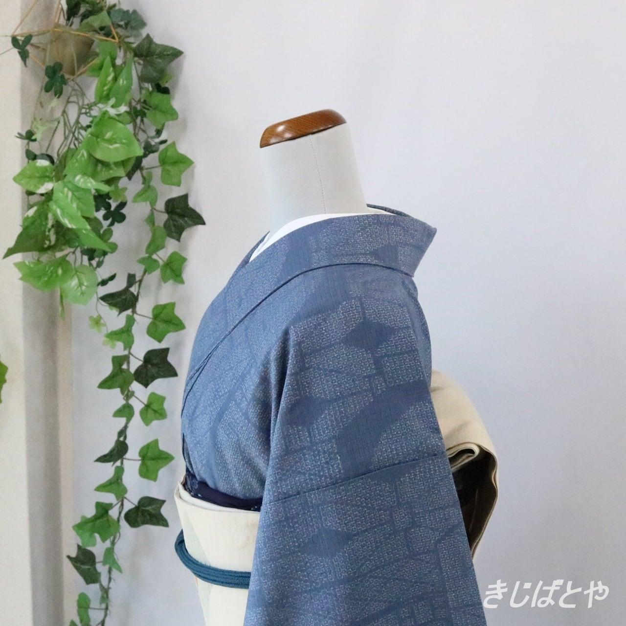 結城紬 青袋鼠にモザイク 袷