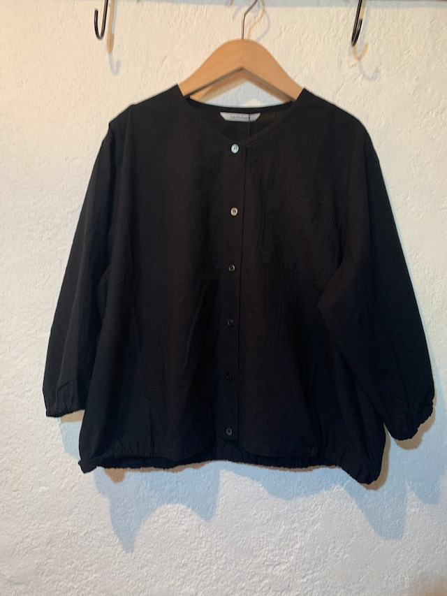 nachukara/裾ゴム7分袖ブラウス ブラック