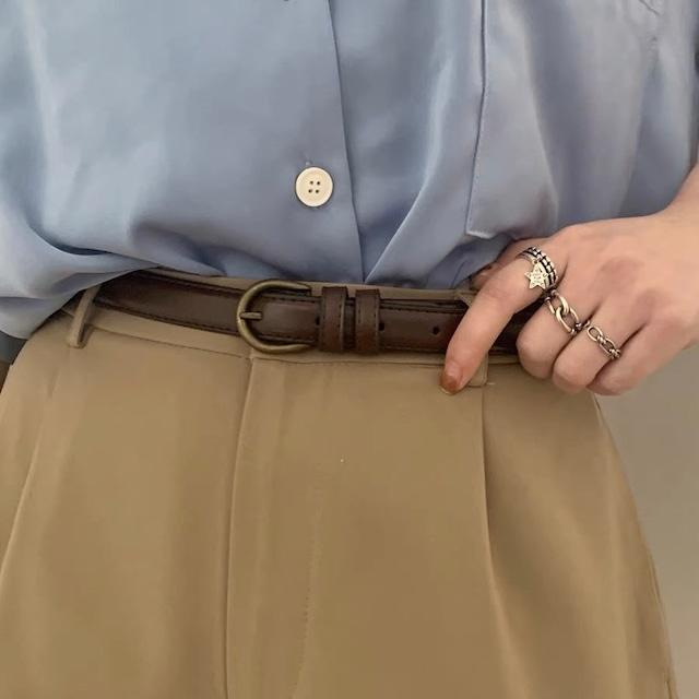 round buckle thin belt 2c's