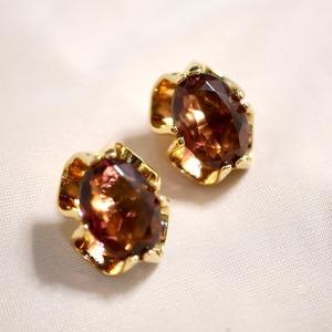 Amethyst glass clip-on earrings