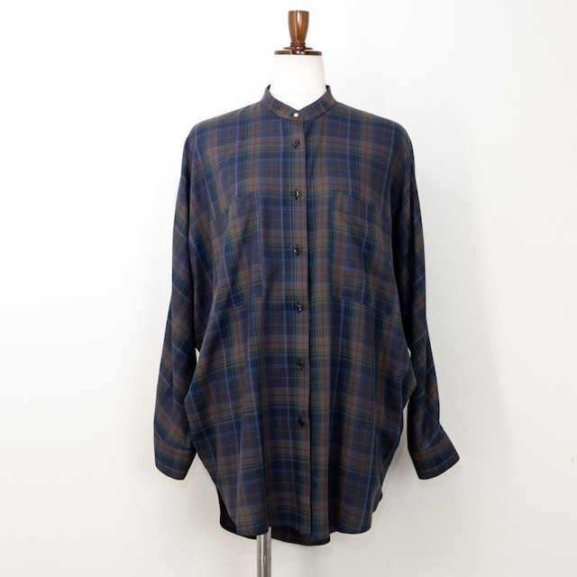 【QTUME/クチューム】バンドカラーチェックチュニックシャツ(ネイビー)