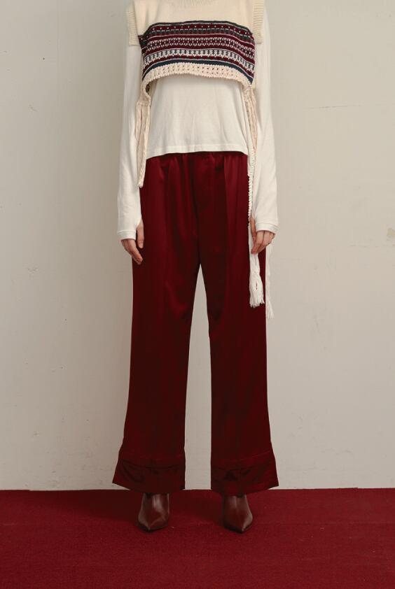 HEM RIBBON PANTS / RED