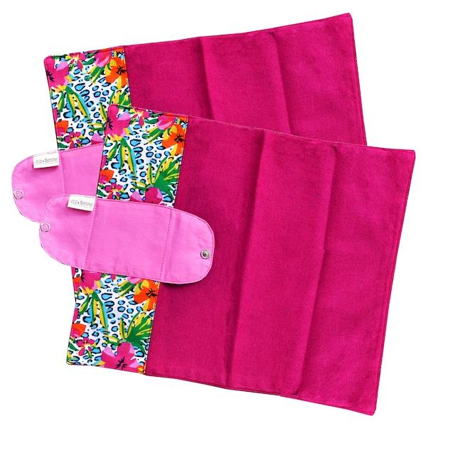 クラシックスタイル(防水あり) 肌面:オーガニック染料使用フランネル2枚セット/2 Foldable Pads - Vibrant Organic