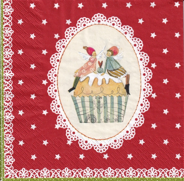 【Gratz Verlag】バラ売り2枚 ランチサイズ ペーパーナプキン SWEET CHRISTMAS レッド