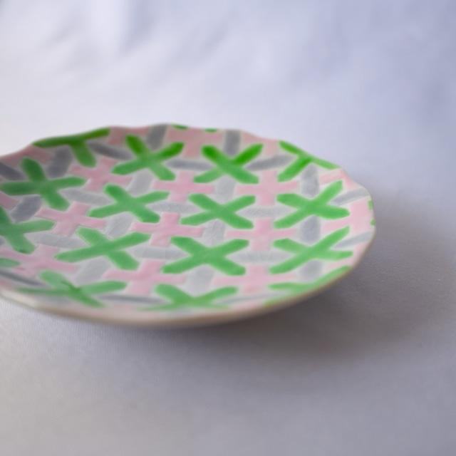 【九谷焼】4寸絵付け小皿「花かんむり」(GR/PI)
