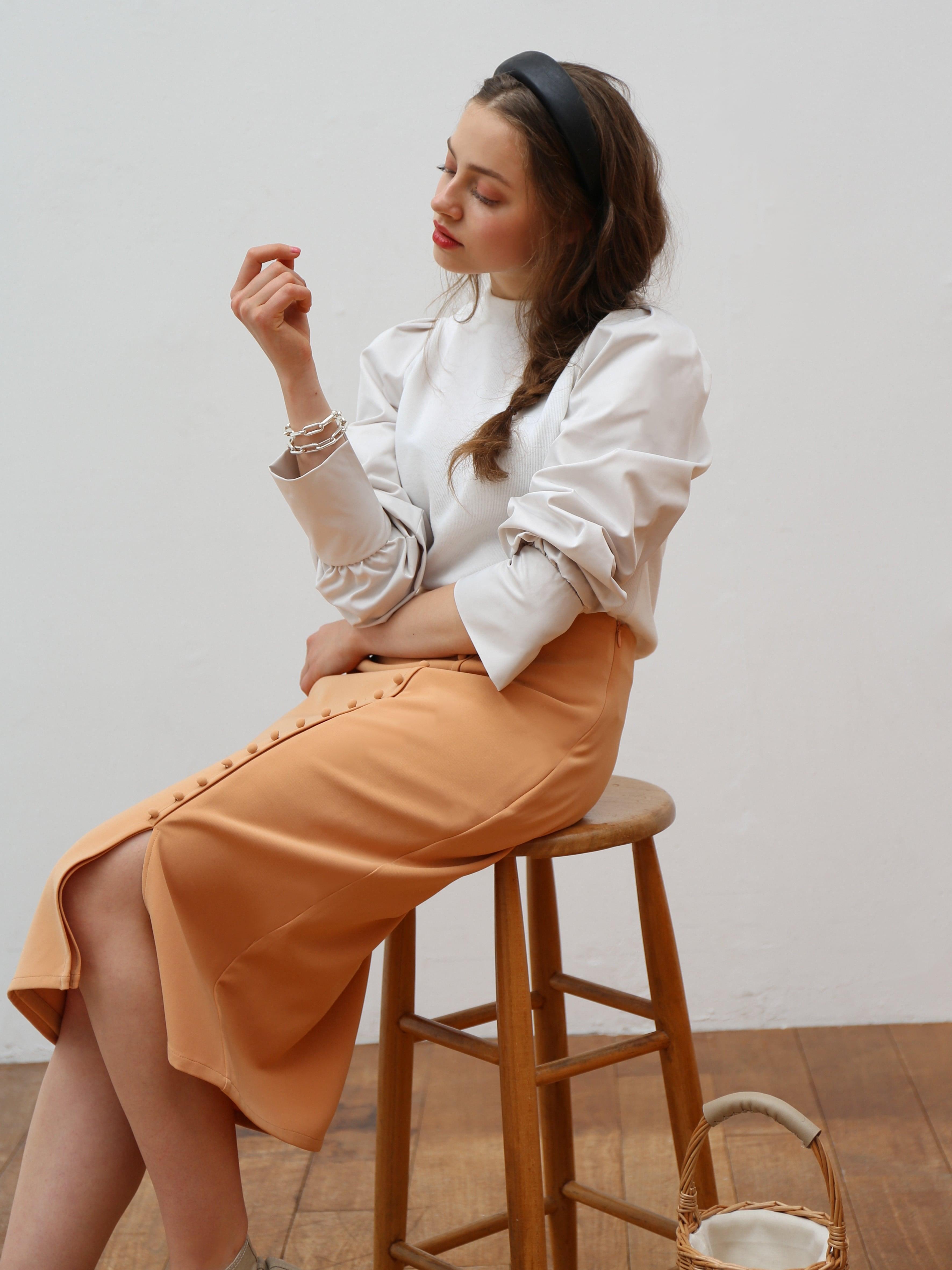 slit sleeve combi blouse(off white)
