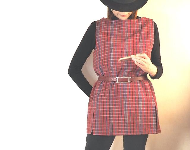 【セミオーダー】ブルーグレーにピンクの織り柄のチュニック -- ウールの着物から