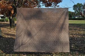 ベッドカバー 20 特大 180x155cm AAA アマゾン シピボ族の泥染め 紫系 ガーゼ