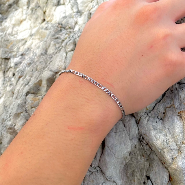 Figaro Chain Bracelet【3mm/SILVER】