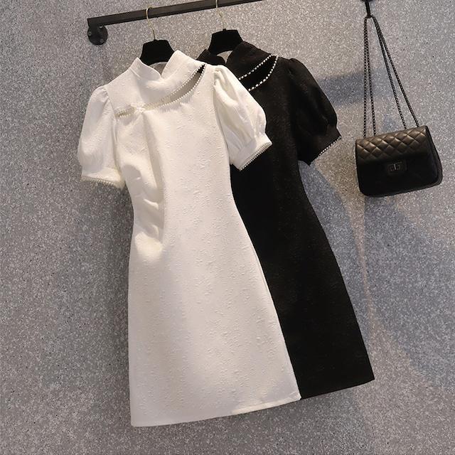 ワンピース チャイナドレス 大きいサイズ 着心地良い パーティー 無地 ホワイト ブラック M L XL 2XL 3XL