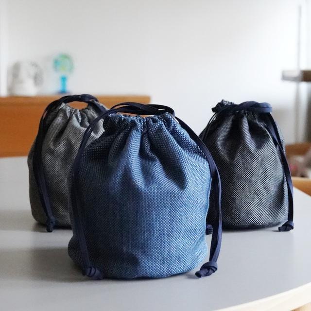 うしじま縫製 | 武州正藍染 巾着バッグ 大(内側 仕切り無) 一重刺子