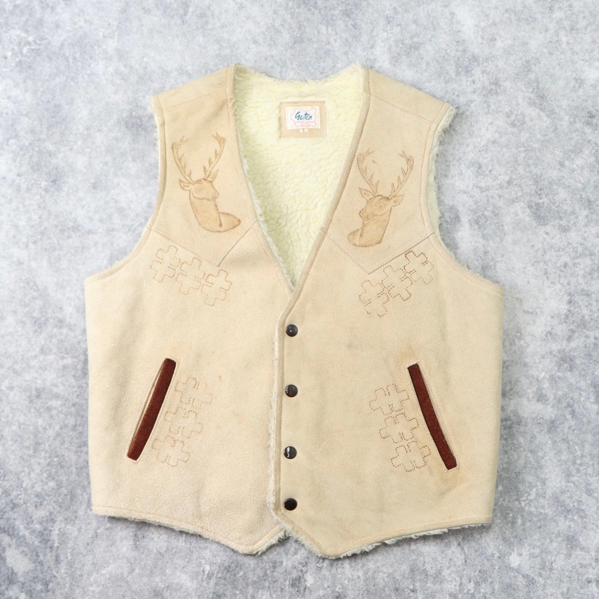 """1970s  vintage  """" gaitan """"   Leather  Vest   L b250"""