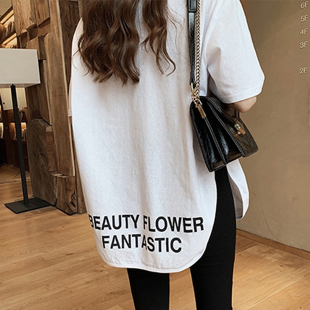裾ラウンドスリット半袖ロゴTシャツ(L21042-063)