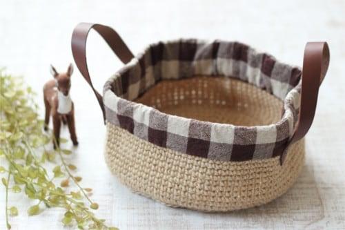 麻のバスケット*手編み ブラウンチェック/sakura 型番:A-1茶チェック