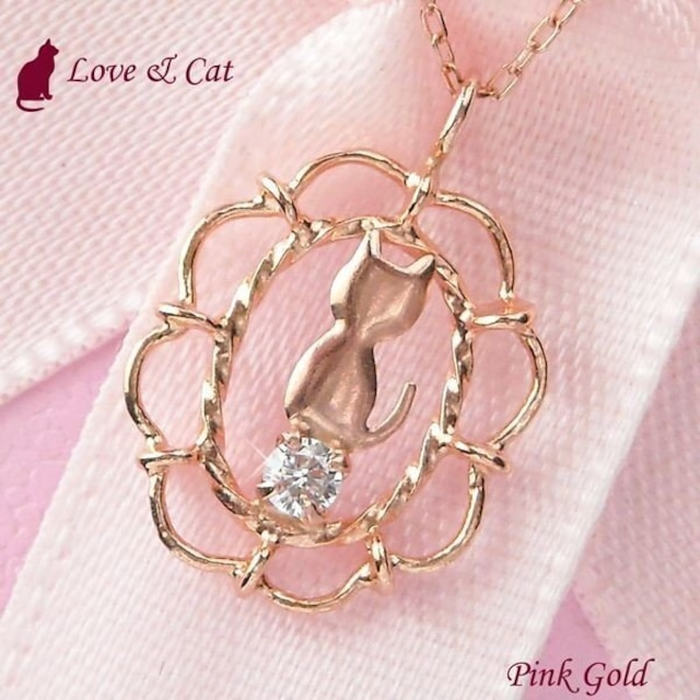 アクアマリン ネックレス 天然石 猫 ねこ 10金ピンクゴールド レディース アンティーク風
