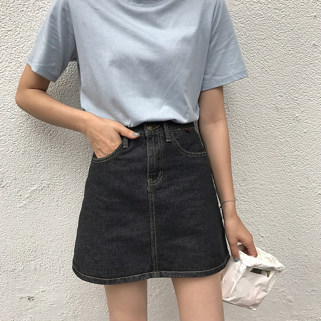 Aライン・デニムボックススカート