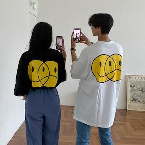 スマイリーフェイスプリントTシャツ YH9214