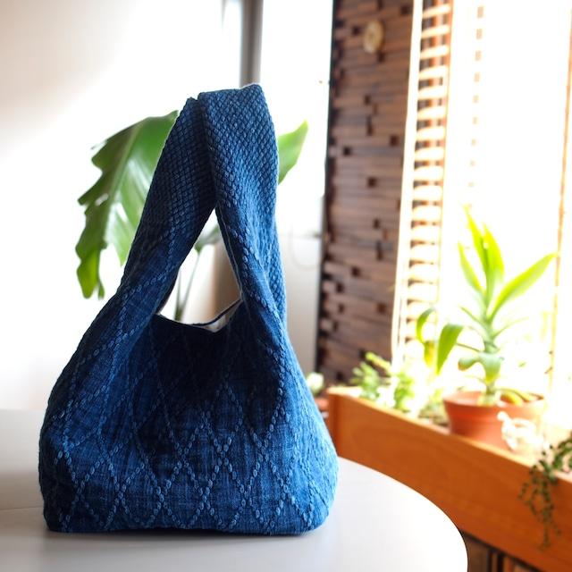 うしじま縫製 | 武州正藍染 手提げバッグ 大 二重刺子