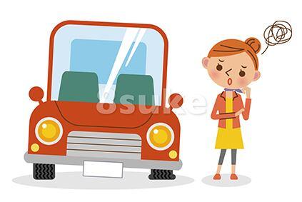 イラスト素材:パンクした車と困っている女性ドライバー(ベクター・JPG)