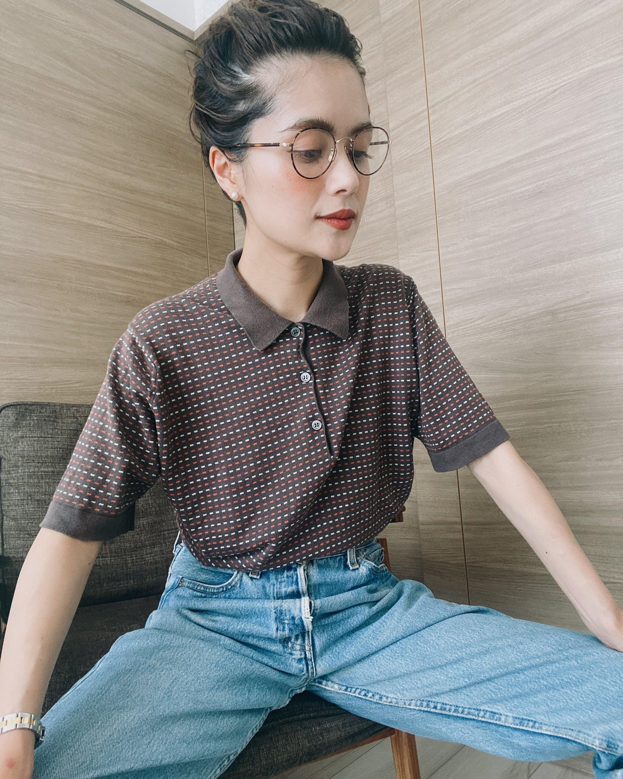 (SH264)JOHN SMEDLEY cotton knit polo shirt