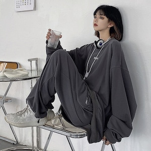【セット】スポーツファッション長袖無地カジュアルパーカー+パンツ52448166