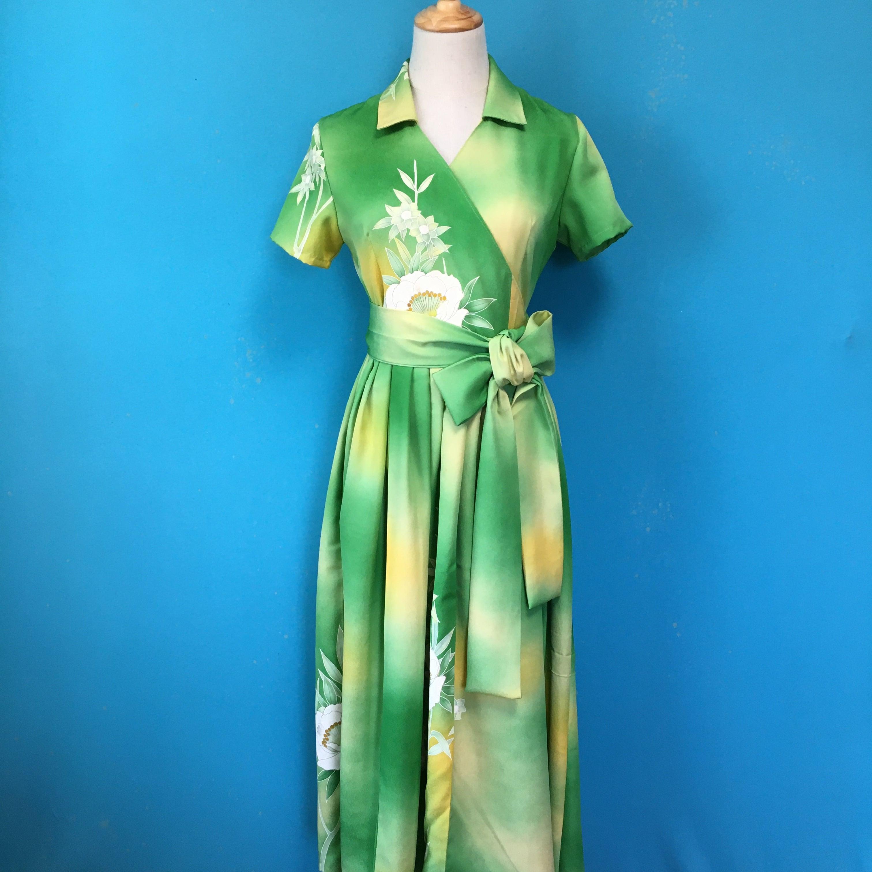 Vintage kimono dress/ US 6 green 訪問着