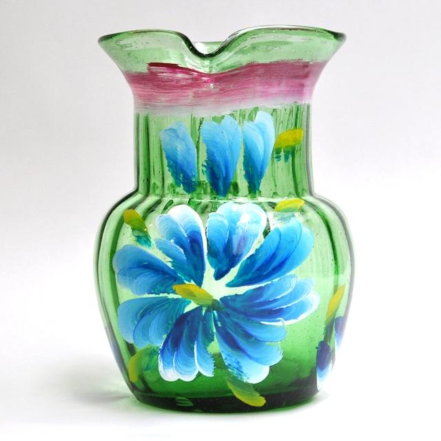 EREACHE PUEBLA GLASS エレアチェ ピッチャーC 青 メキシコ プエブラ 花ペイント