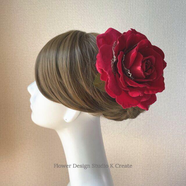フラメンコ・フローレス・発表会に♡ベロア調の大輪の赤い薔薇のヘアクリップ:GOLD